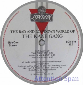 Label for vinyl record of 1980s album by Kane Gang