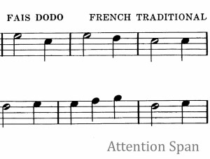 excerpt of musical notation for traditional French song, Fais dodo