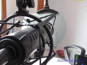 Rode Procaster microphone in shockmount with pop filter screen