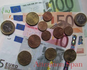 Euro currency - various denominations of coins and notes