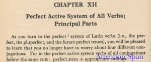 Latin grammar chapter heading and introduction to perfect verbs