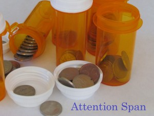 prescription bottles with coins