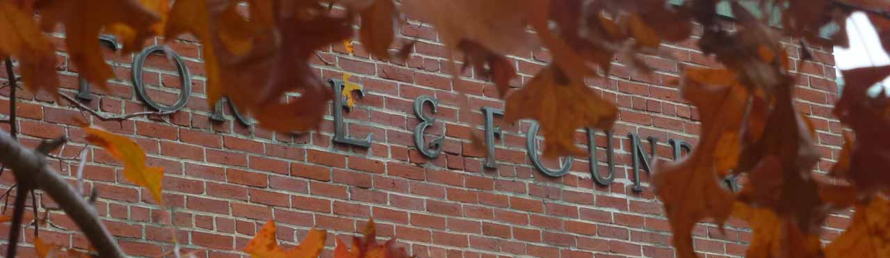 Copper letters on brick wall obscured by oak leaves