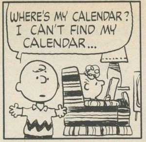 First panel of Peanuts cartoon about calendar dread