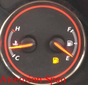 low fuel warning light on car fuel gauge
