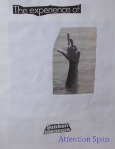 Page from collage book with hand reaching out of water